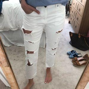 Zara white distressed straight leg jeans size 4